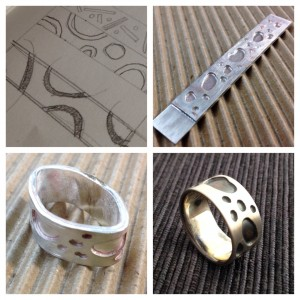 Sweat-soldered band ring with puddle pattern. Jane Pellicciotto, Portland, Oregon