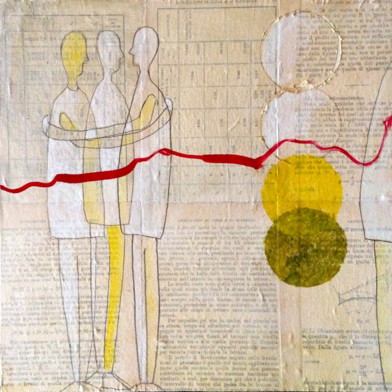 Acrylic and paper on wood. Figures and circles. Jane Pellicciotto Artworks, Portland, Oregon