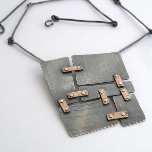 Oxidized sterling silver tile pendant with handmade chain. Jane Pellicciotto. Design Jewelry. Portand, OR
