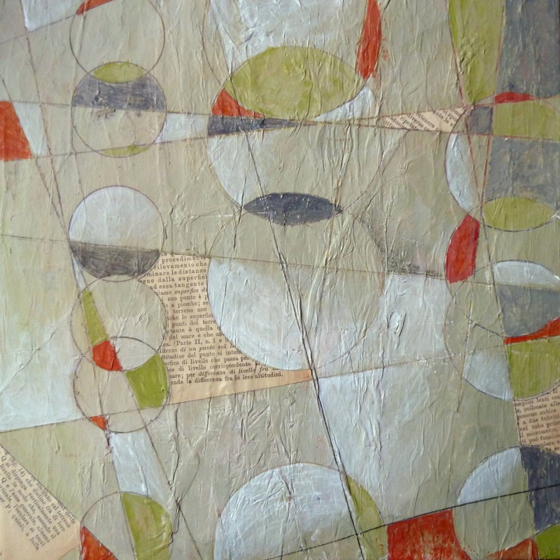 Abstract painting acrylic and paper on canvas, Jane Pellicciotto, artist, Portland, Oregon