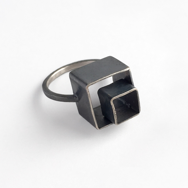 Nested boxes ring. Sterling silver. Jane Pellicciotto