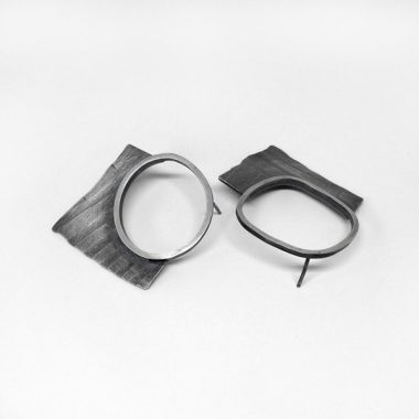 Fragment Earrings. Textured, oxidized sterling silver post earrings. Jane Pellicciotto