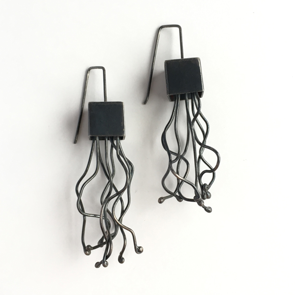 Jellyfish earrings. Whimsical square sterling silver oxidized earrings. Jane Pellicciotto