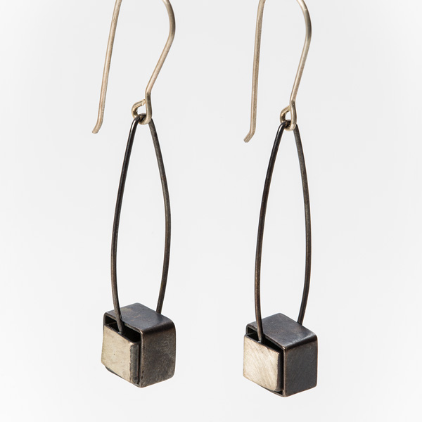 Bi-metal nested cube earrings by Jane Pellicciotto