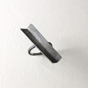 Angular ring in oxidized sterling silver with surface texture. Jane Pellicciotto