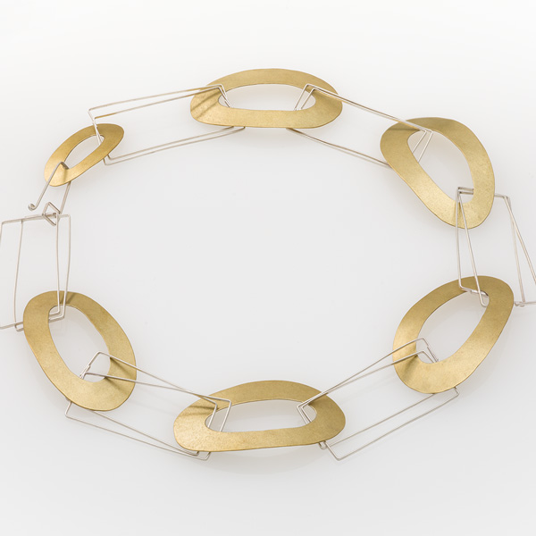 Sticks and Stones Choker by Jane Pellicciotto. Sterling silver and textured bronze.