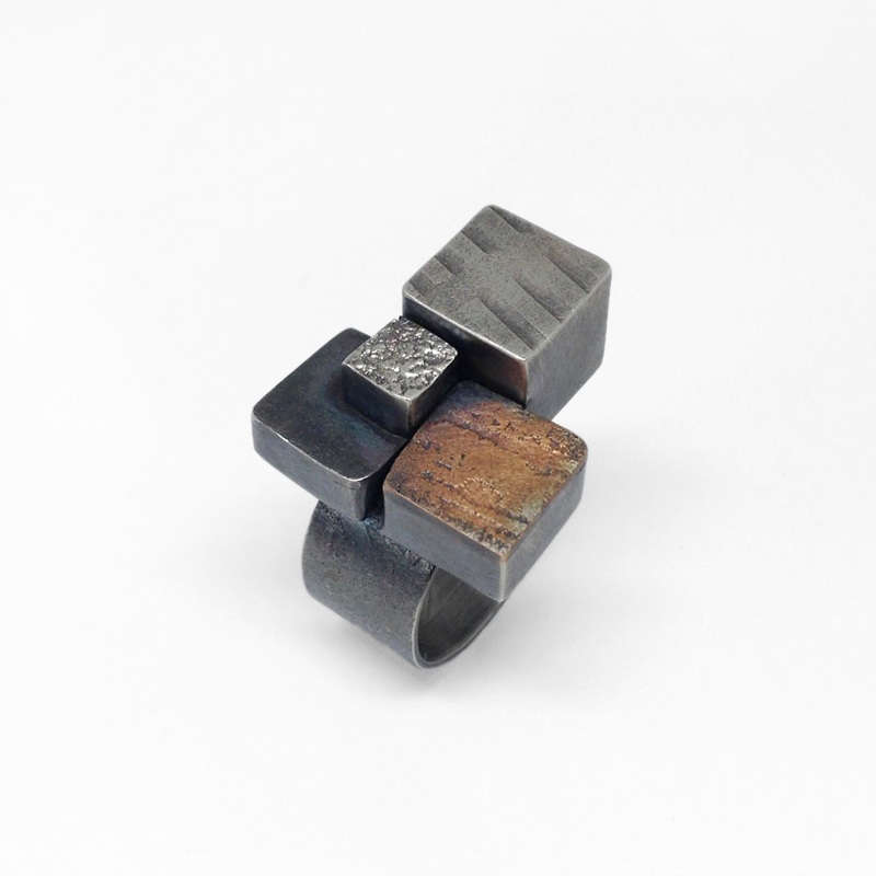 Terrazzo Ring. Statement ring with hollow textured boxes in sterling silver and bronze. Cubes. Architectural. Jane Pellicciotto