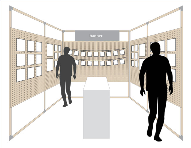 Diagram of a possible craft or art show booth design using peg board walls with open top and bottom.