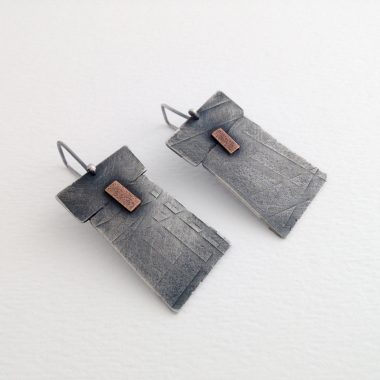 Mend earrings. Wabi sabi sterling silver earrings with bronze and surface texture. Jane Pellicciotto