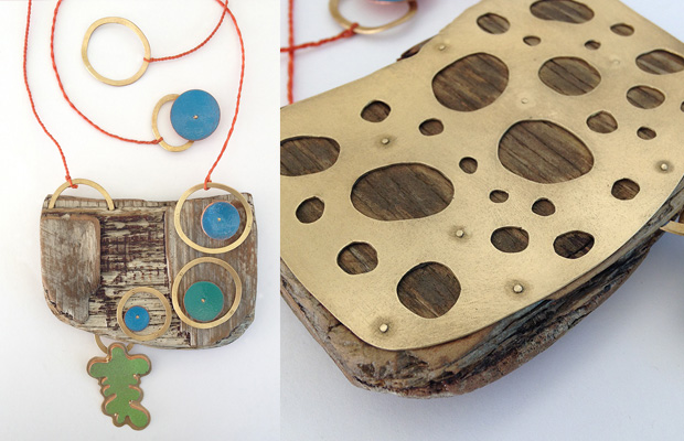 Driftwood necklace, inspired by the Oregon coast, vitreous enamel and bronze