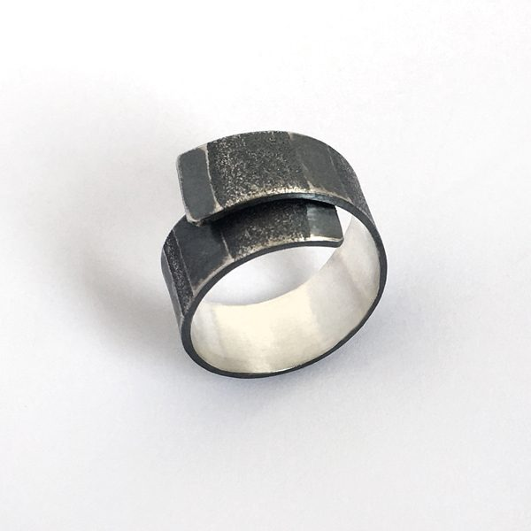 Tidal Ring. Striped sand paper texture on sterling silver. Adjustable. Jane Pellicciotto