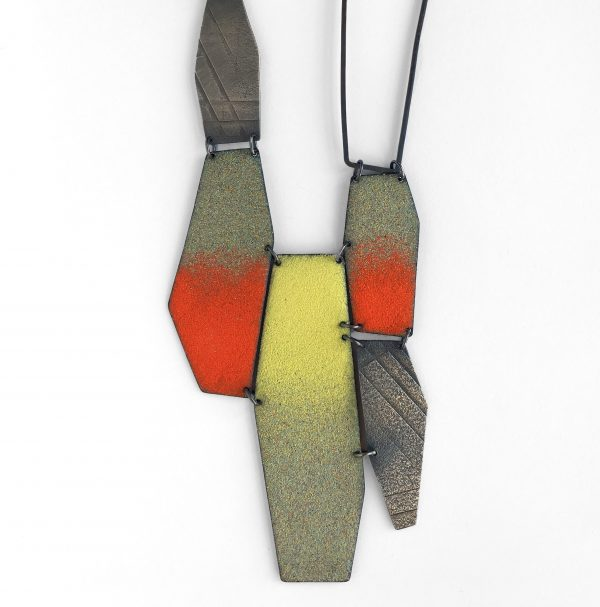 Good Hombre Necklace. Silver and copper with vitreous enamel. Jane Pellicciotto.