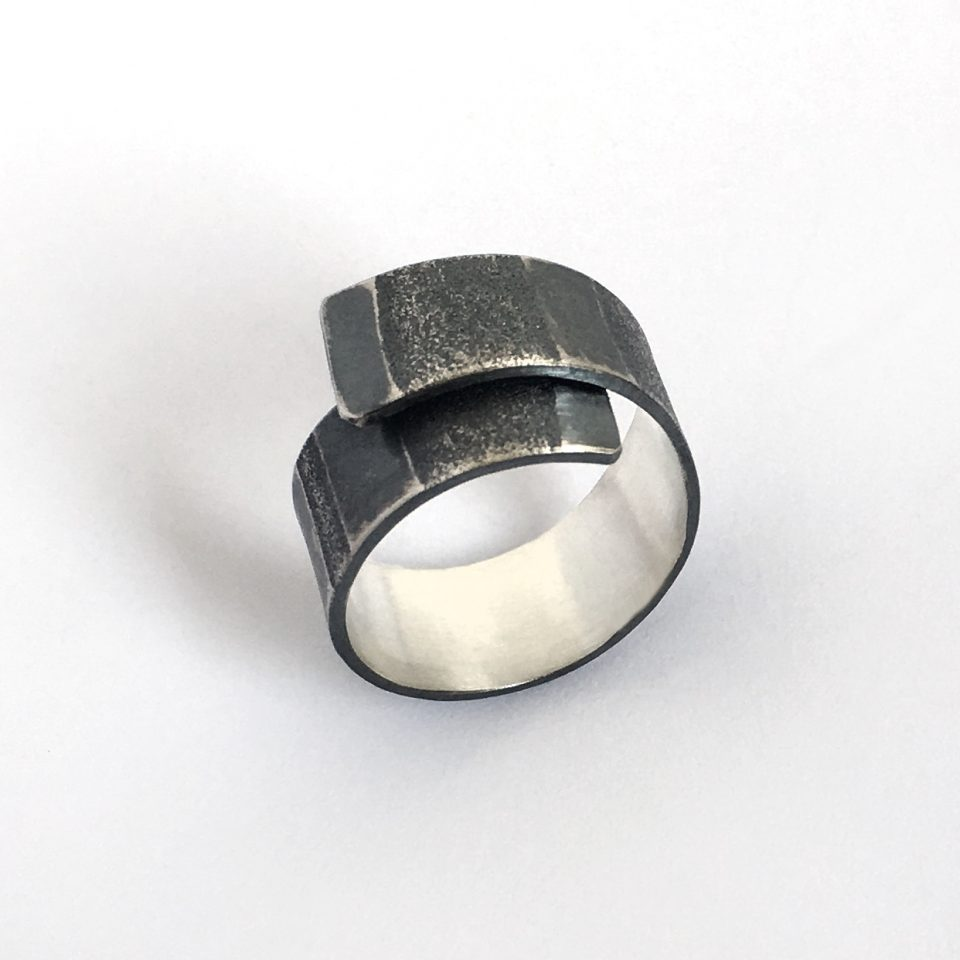 Tidal Ring. Textured and oxidized sterling silver. Jane Pellicciotto