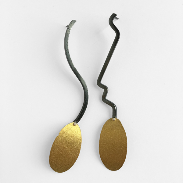 Curves Ahead | sterling silver and bronze mismatching earrings. Jane Pellicciotto