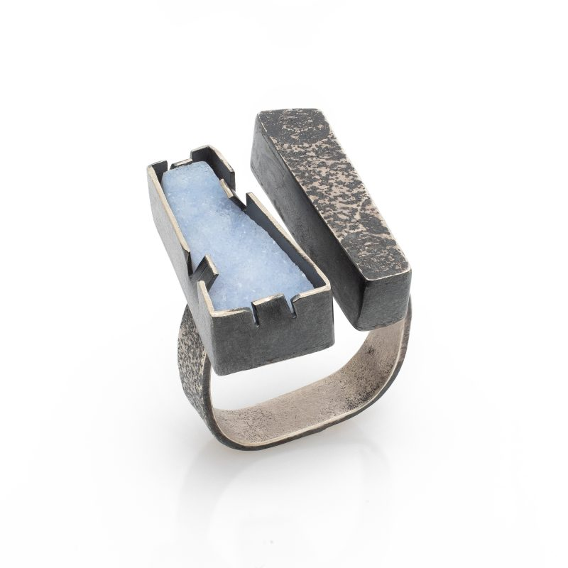Industrial style sterling silver and ice blue druzy ring / Jane Pellicciotto