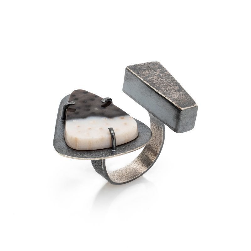 Industrial style sterling silver ring with petrified palm wood
