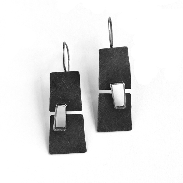Split level earrings, sterling silver. Jane Pellicciotto