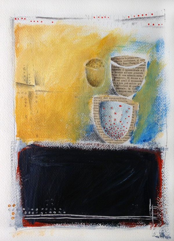 Acrylic and pencil on paper. Abstract with pots. Jane Pellicciotto Artworks, Portland, Oregon