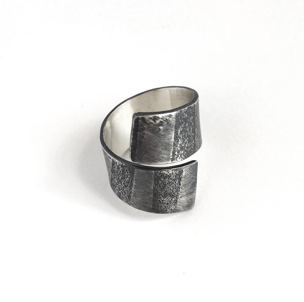 Tidal ring. Striped sand paper texture in sterling silver. Jane Pellicciotto