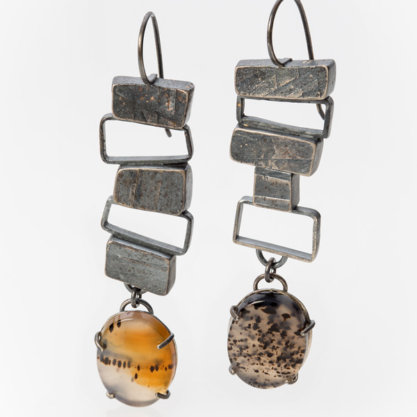 Totem Earrings by Jane Pellicciotto. Montana agate and sterling silver