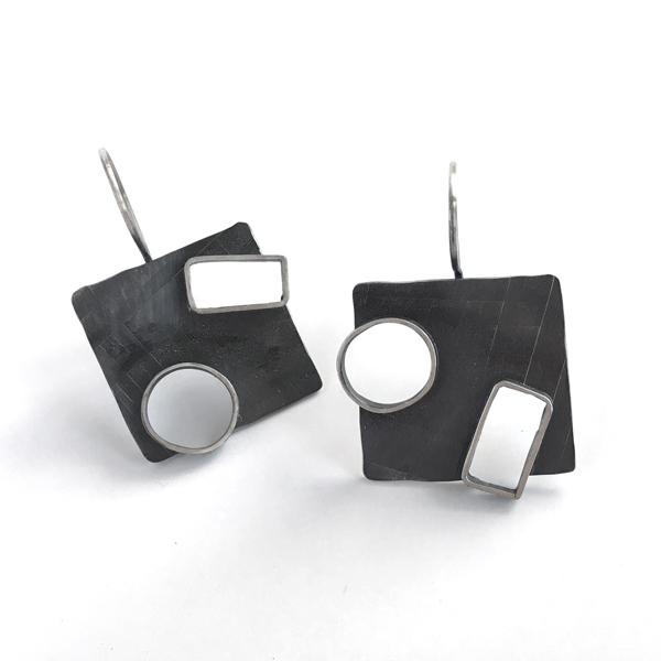 Two Portal Earrings. Sterling silver, handmade in Portland, Oregon. Jane Pellicciotto
