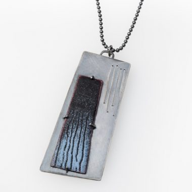 Offset Enamel Pendant by Jane Pellicciotto. Vitreous enamel on copper and sterling silver