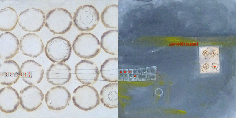 Acrylic, paper and carrot stains on wood. Abstract. Jane Pellicciotto Artworks, Portland, Oregon