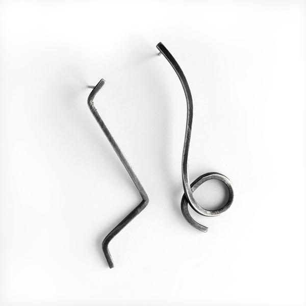 Mismatching zig and loop earrings by Jane Pellicciotto