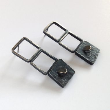Architectural window earrings in oxidized sterling silver. Hand fabricated. Jane Pellicciotto