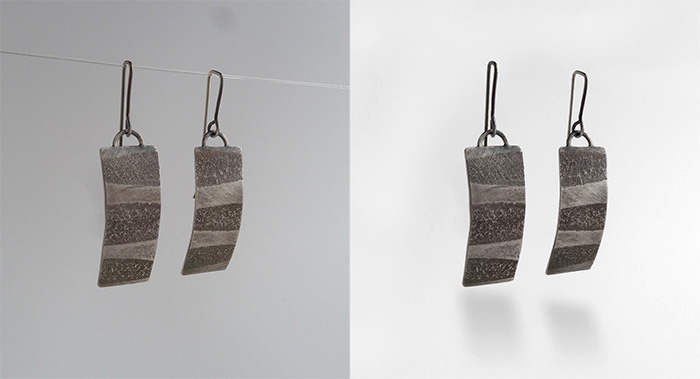 Before and after jewelry photography retouching