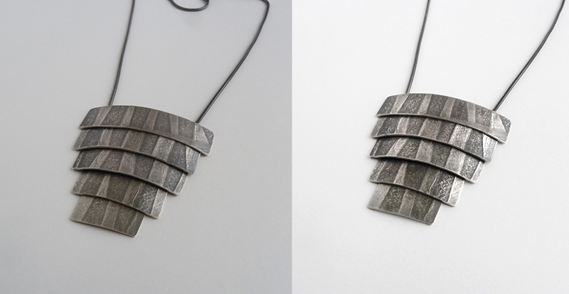 Before and after shot of pendant doing DIY jewelry photography.