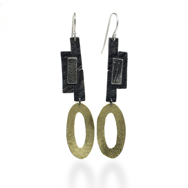 Sticks and Stones Earrings. Sterling silver and brass. Jane Pellicciotto