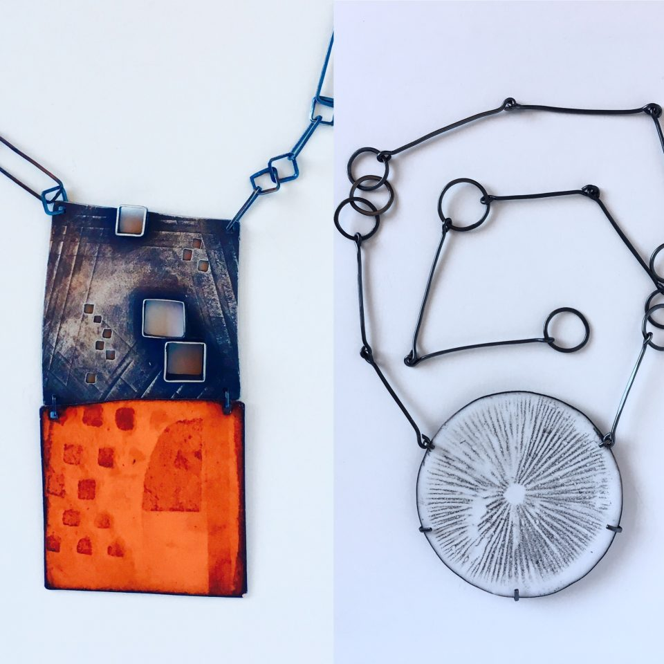Photo decals on vitreous enamel. Necklaces by Jane Pellicciotto