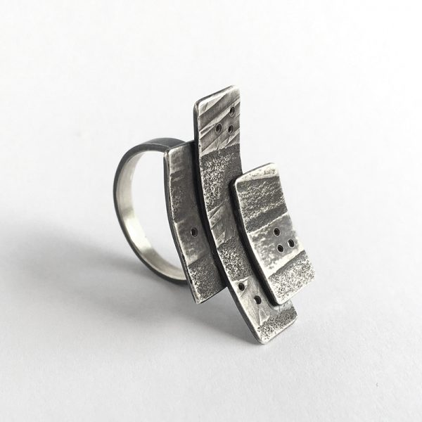 Bark ring. Layered, textured sterling silver. by Jane Pellicciotto