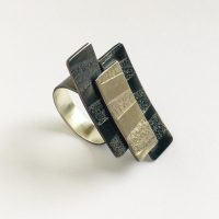 Striped textured sterling silver statement ring. Jane Pellicciotto