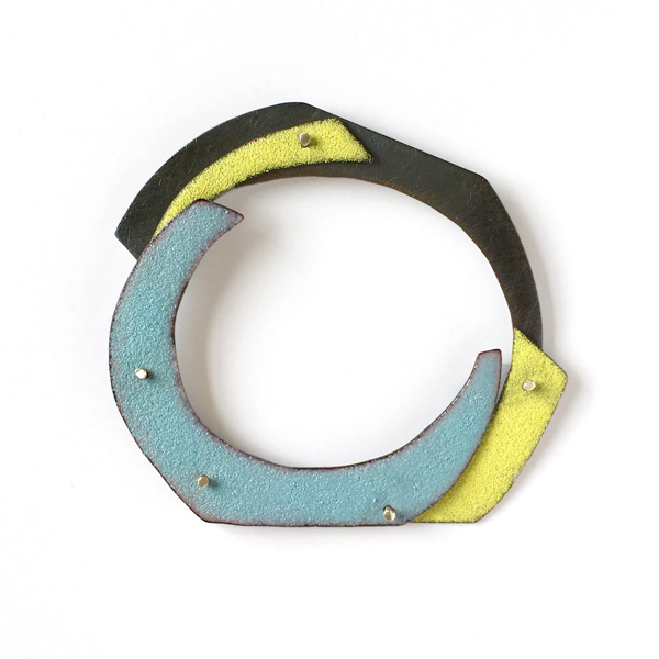 Cut Circles Brooch | sterling silver, copper and vitreous enamel. Jane Pellicciotto