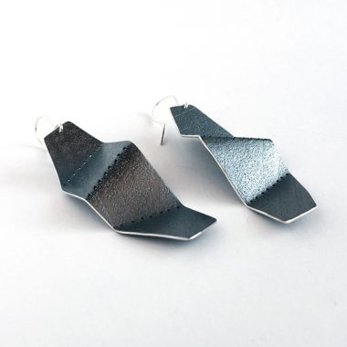 Perforated and folded oxidized sterling silver earrings by Jane Pellicciotto
