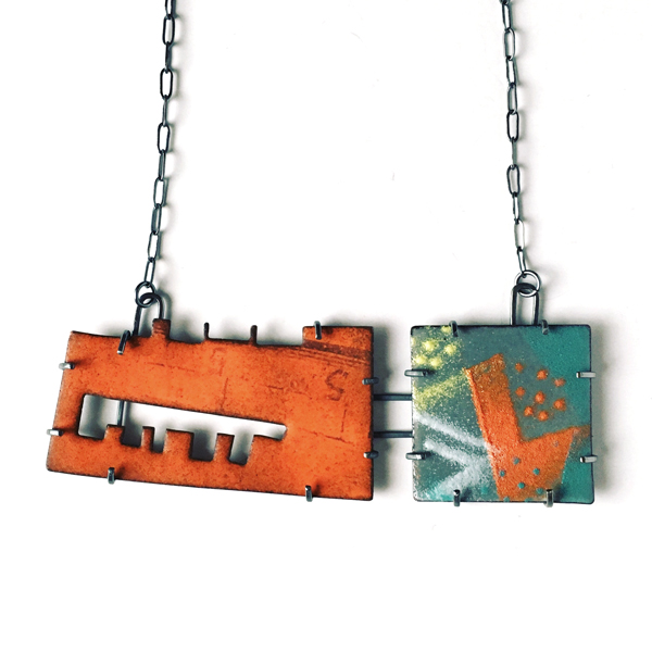 Enamel on copper with sterling silver. Industrial-style necklace. Jane Pellicciotto