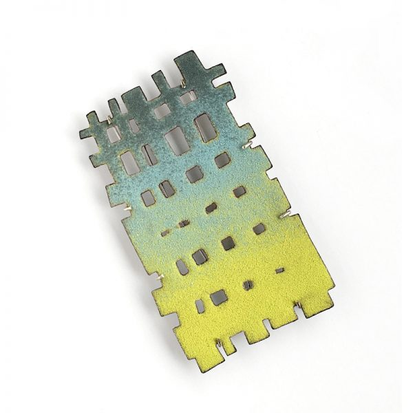 Pastel hued weave brooch, vitreous enamel on copper. Jane Pellicciotto