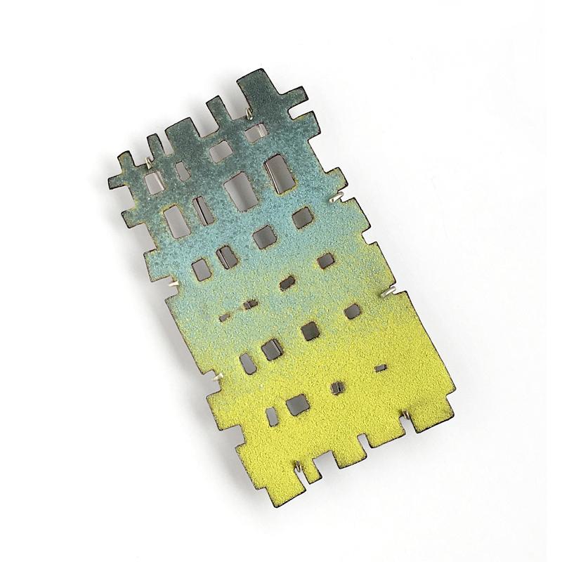 Pastel hued weave brooch, vitreous enamel on copper. Jane Pellicciotto
