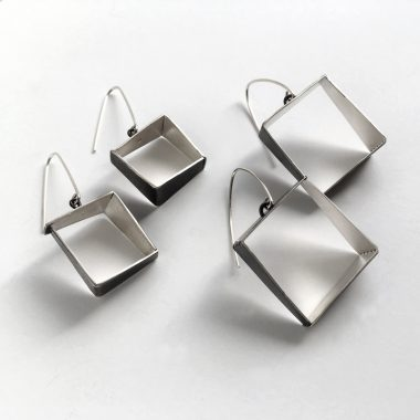 Open Frame sterling silver two-tone earrings. Jane Pellicciotto