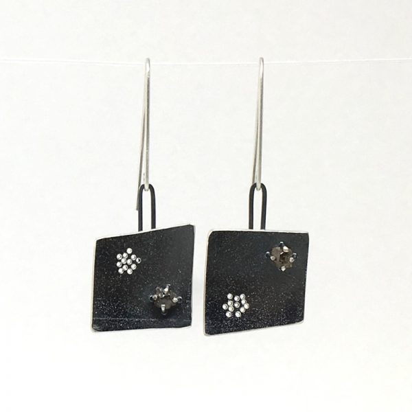 Rough diamond and silver earrings. Jane Pellicciotto