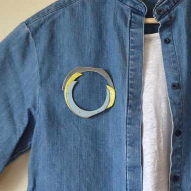 Cut Circle Brooch in blue and green enamel, with sterling silver. Jane Pellicciotto