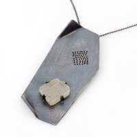 Fold Pendant with druzy quartz. Jane Pellicciotto