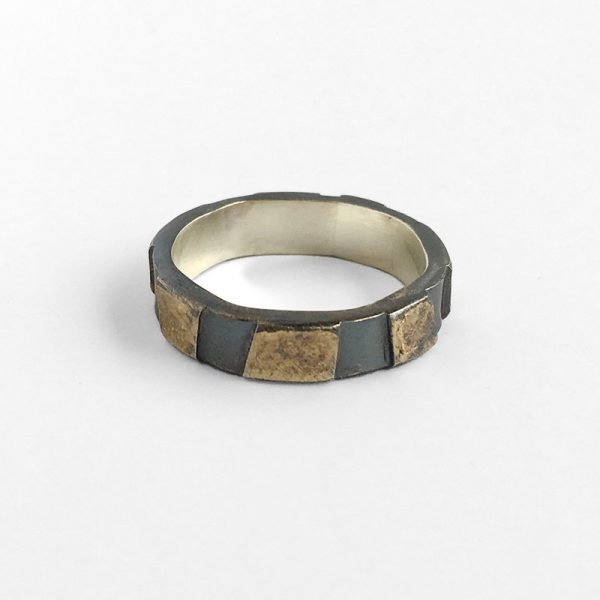 Oxidized sterling silver and fused gold dust tile ring. by Jane Pellicciotto