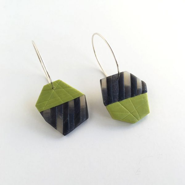 Green and black polymer clay tile earring. Jane Pellicciotto