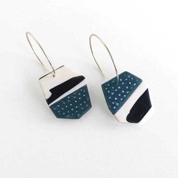 Blue and black polymer clay tile earring. Jane Pellicciotto