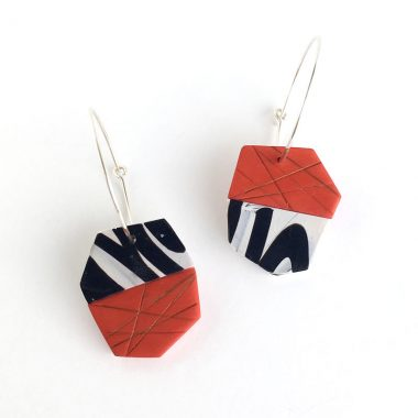 Red and black calligraphy polymer clay earrings. Jane Pellicciotto