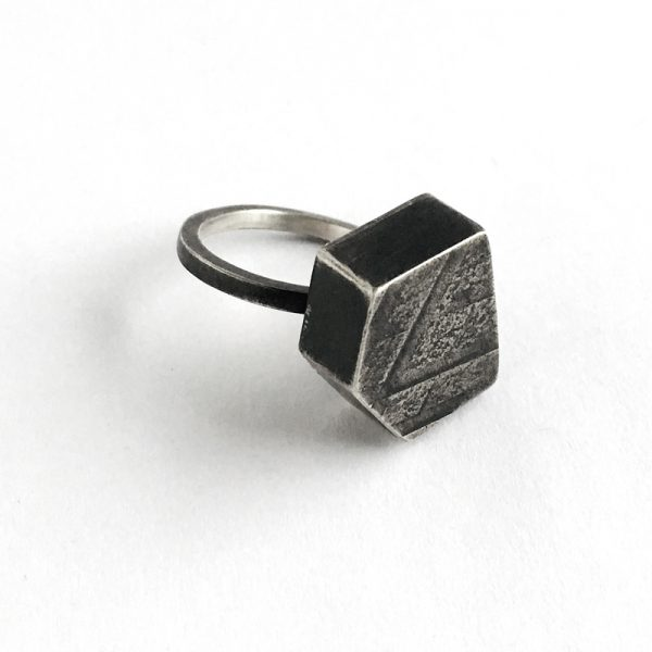 Cobble Ring. sterling silver, textured, oxidized