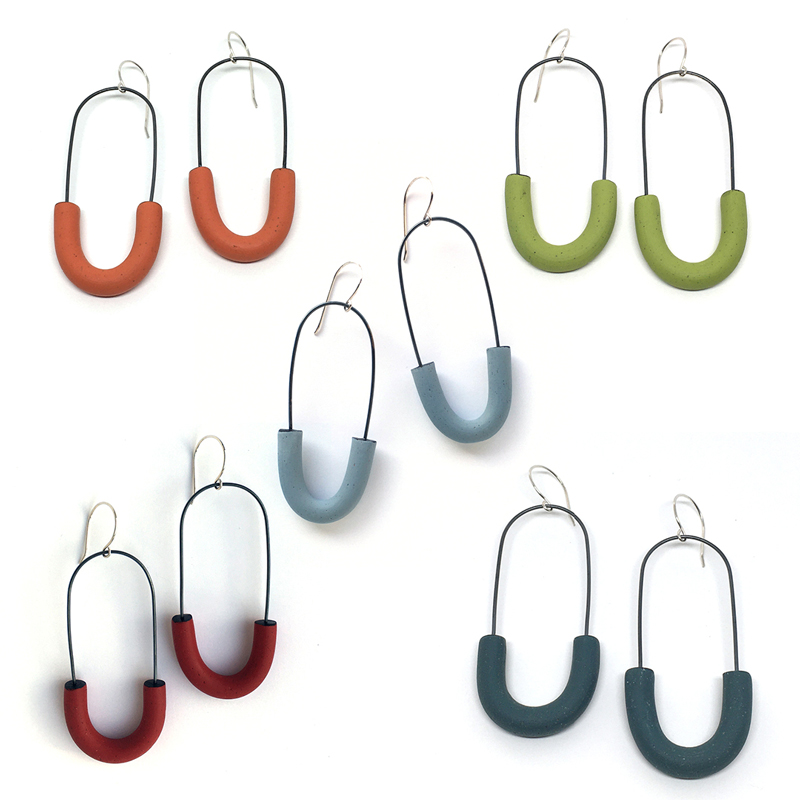 Polymer clay and silver hoop earrings in 5 colors. Jane Pellicciotto.